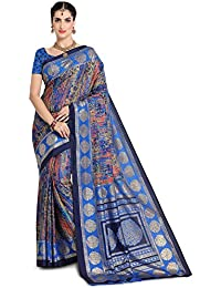 SAREE MALL Art Silk Saree With Blouse Piece(saree Latest Design 2018 SM104D_Blue_Free Size)
