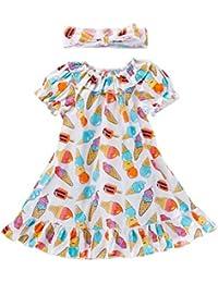 Falda con Estampado de Helado de Lollipop con Estampado de niña para niños, Traje de