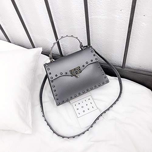 Mrs. Li's shop Neue Tasche weibliche koreanische Version matt matt Kelly Bag Niet Umhängetasche Umhängetasche, Large grau