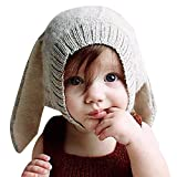 CHIC-CHIC Hiver Bébé Enfants Cagoule Bonnet Chaud Casquette Echarpe Capuche Chapeaux Lapin Déguisement (Gris, 0-1 ans)
