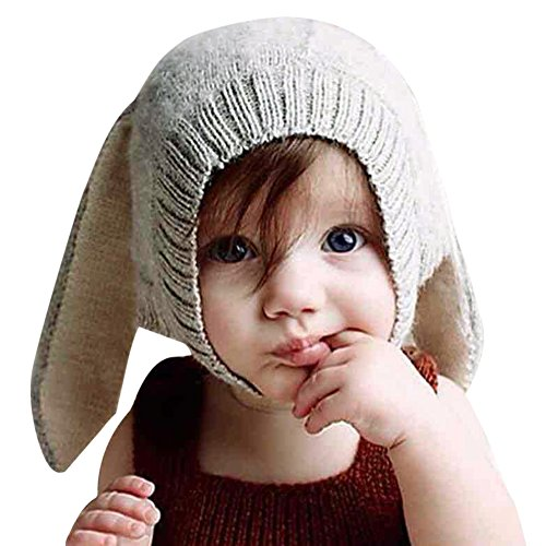 CHIC-CHIC 0-5 Jahre Säugling Baby Strick Mütze Fleece Kappe Kaninchen Ohren Hut Hase Kinder Fotografie Props Winter Herbst (Grau) (Baby-fleece-mütze Fleece)