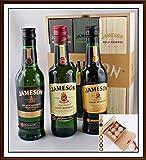 3 x 200ml Jameson irischer Whiskey im Holzkistchen und 27 DreiMeister Edel Schokoladen, kostenloser Versand