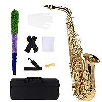 ammoon bE Saxofón alto de latón lacado dorado E Flat Sax 802 tipo llave instrumento de viento de madera con cepillo de limpieza guantes correa acolchada funda de latón saxo