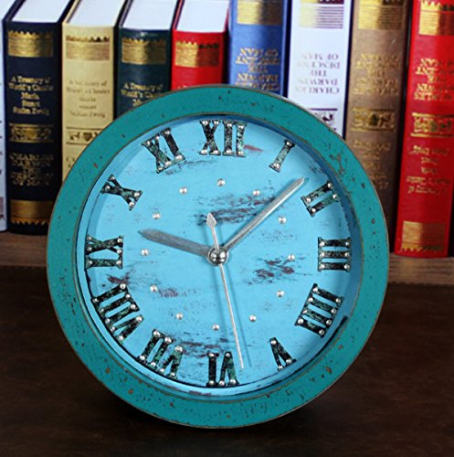 CHLWW Original Retro Personality Simple Exquisite Worn Wood 3D Mosaic Rivets Mute Alarm Clock