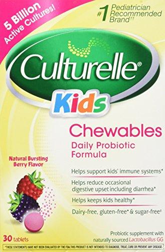 Culturelle, Kids! Chewables Probiotic, Natural Bursting Berry Flavor, 30 Tablets