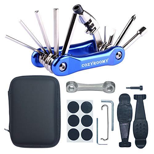 COSYROOMY Multi-Tool Fahrrad Reparatur Set - Reparatur Werkzeug Set mit 10 in 1 Multitool (mit Kettenwerkzeug), Knochenschlüssel, Alternatives Werkzeug, tragbarer Bag,6 Monate Garantie