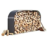 Waltons Metal Log Store Outside Garden Storage Dimensions: W213cm x H117cm (Horizontal Log Store, Grey)