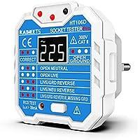 Comprobador de enchufe de 48 a 250V, KAIWEETS Probador de enchufe con LCD pantalla que medir voltaje, examinar circuito y RCD, CAT II 300V, 7 tipo de indicación para uso doméstico y profesional