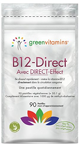 Vitamine B12 à forte puissance. Méthylcobalamine 1000mcg arôme de fraise 90 B12 - pastilles sublinguales