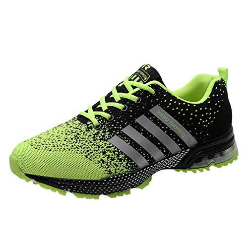 Skxinn Unisex Sneakers Fitnessschuhe Leicht Schnürschuhe Atmungsaktive Casual Herren Mode Turnschuhe Sportliche Basketball-Laufschuhe Wanderschuhe für Damen Gr 35-47(Grün,45 EU)