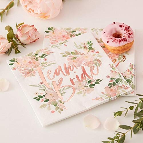 Ginger Ray Team Bride Floral Paper Napkins - Floral Hen Range by