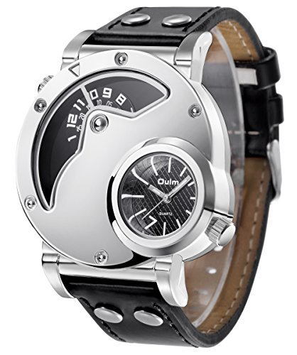 Analog-Quartz-Mens-Watches-Business-Casual-Wrist-Watch-Two-Time-Zone-Function-Genuine-Leather-Band-Dress-Wrist-Watch-Silver-Big-Face-Dial-and-Digital-Design-30M-Water-Resistant-Silver