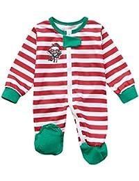 Familiares Ropa de Dormir Traje a Juego de Navidad Mujer Hombre Bebé Niño Niña de Pijamas Muñeco de Nieve de Navidad Familiar Tops de Rayas Blusa Pantalones Pijamas Familiares Ropa de Dormir
