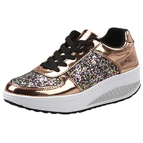 beautyjourney Scarpe sneakers estive eleganti donna scarpe da ginnastica donna scarpe da corsa donna Sportive Scarpe Da Lavoro donna scarpe donna stringate - Donna scarpe moda sportive (37, Oro)