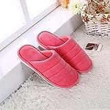 CFHJN Home Autunno e Inverno Solido Colore Super Morbido casa Pavimento in Legno Piastrelle Scivolare Pantofole di Cotone Caldo Cotone di Colore Spesso rimorchio (Color : Red, Size : 1)