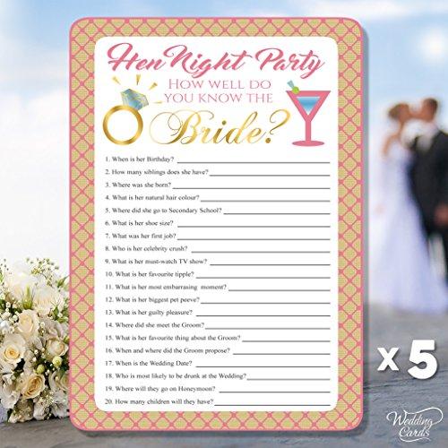 5x Quiz Blatt wie gut Wissen Sie, die Braut Hen night Party Game
