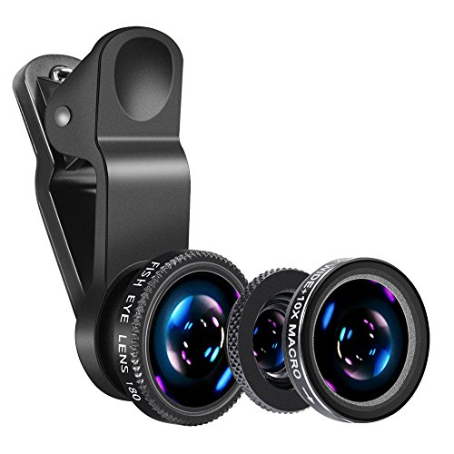 Mobile Phone Camera Lens Kit-Yarrashop iPhone Lens With Fish Eye Lens +Macro Lens + Wide Angle Lens for iPhone 8/7/6/6s Plus/5s/SE, Samsung S9/S8/S7/S6, Huawei, iPad ,Snoy,and Other Smart Phones (Black)
