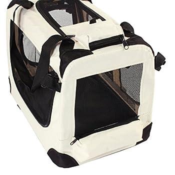 TRESKO® Boîte de transport pliable pour chiens, chats, chiots, animaux domestique, Sac de transport de voiture, pliable, diverses couleurs et tailles au choix Beige XL 80 x 55 x 58 cm