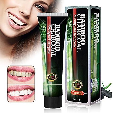 Blanchiment des dents,Activated dents de carbone dentifrice blanchissant, dents en poudre charbon actif antibactérien naturel blanchissant, dentifrice charbon de bambou noir soin des dents d