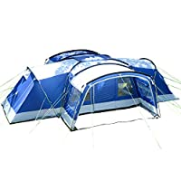 skandika nimbus family group hybrid design family tunnel tent, 3 sleeping rooms, moveable front wall, 200 cm peak height,12-person/large