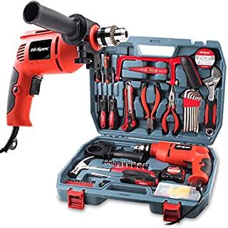 Hi-Spec Complete 130 Piece 300W Hammer Power Drill & Hand Tool Set Combo Kit - Hacksaw, Pliers, Claw-Hammer, Wrench, Box Cutter, Hex Keys, Screwdrivers, Socket and Driver Bits, Voltage Tester & more