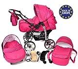 Kamil - Landau pour bébé + Siège Auto - Poussette - Système 3en1, incluant sac à langer et protection pluie et moustique - ROUES NON PIVOTABLES (Système 3en1, rose, taches)