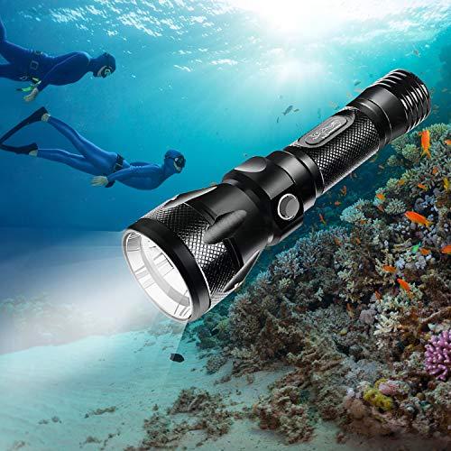 BlueFire Tauchen Taschenlampe, 1200LM XM-L2 LED Tauchlampe, Professionelle Helle Wasserdicht Sicherheit Unterwasser Lampe mit Handschlaufe