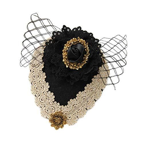 n Gothic Blumen Schleier Haarnadel Vintage Party Haarspange Hut Kopfschmuck ()