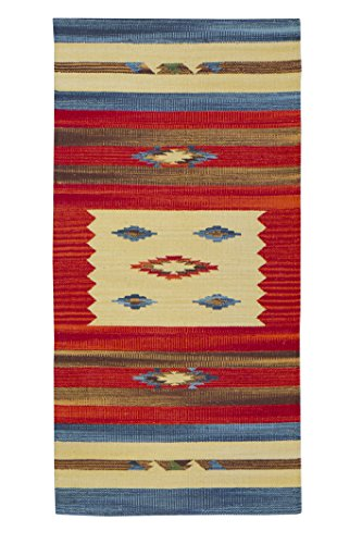 Jute & Co. Kilim - Alfombra de pasillo, algodón de gran calidad tejido a mano, diseño kilim, 60x 120cm, multicolor