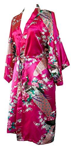 CCcollections Bademantel Robe Wäsche -Nachtabnutzung Kleidbrautjunfer Junggesellinnenabschied (Fuschia Rosa (Fuschia pink)) (Dessous Roben Lange)