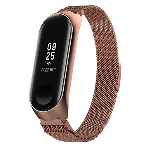 Imagen de domybest correa de reloj de pulsera de correa ajustable de acero inoxidable, con marco, para xiaomi mi band 3 oro rosa  alternativa
