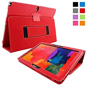 Galaxy NotePro 12.2 Case, Snugg - Red Leather Smart Case Cover [Lifetime Guarantee] Samsung Galaxy NotePro 12.2 Protective Flip Stand Cover with Auto Wake / Sleep