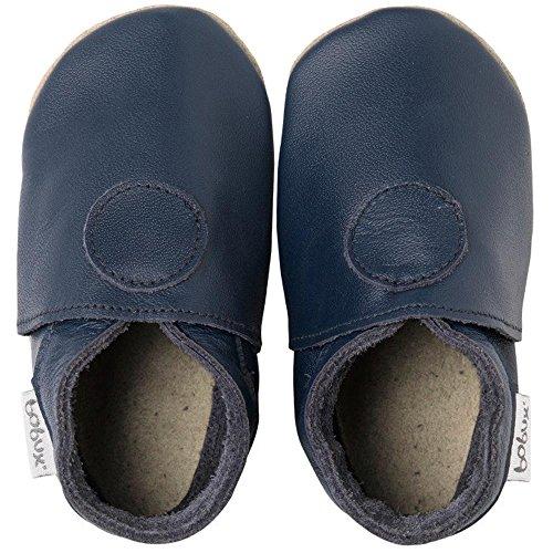 Bobux Classic Dot, Chaussures souples bébé bleu foncé