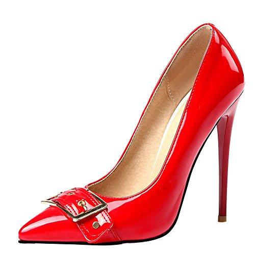 Mee Shoes Damen Stiletto shallow Mund Lackleder Pumps Rot