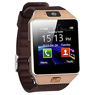 dz09 Smart Watch Phone (Gold), Wireless Bluetooth Smartwatch zkcreation 2.0 MP Camera for Android and iOS