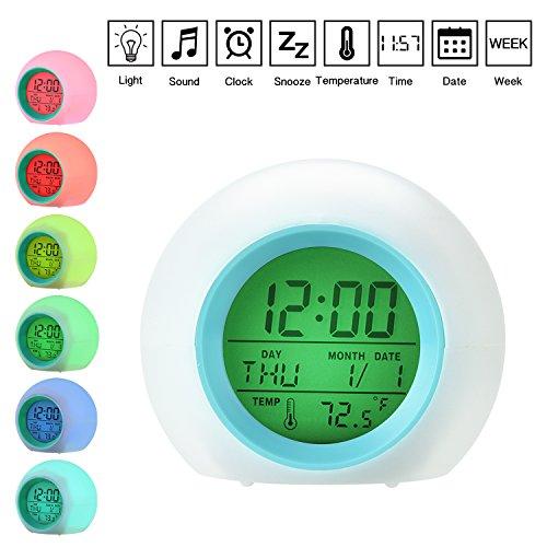 Wecker, Wake Up Licht, LED Licht, Tageslicht Wecker ,Nachtlicht, Wecker mit Temperaturanzeige, 7 Farben-modus, 5 natürliche Klänge, Datumsanzeige, für Kinder, Erwachsene, Kleinkinder, Jugendliche