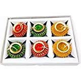 Candles For Diwali- Hand Made Matki Candle Decorated With Colourful Lace (Set Of 6) By A1
