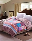 KIUYTGHNB Grid Era,High-end Full Cotton Reactive Printing Stripe Contemporary Bedding Set 4PC, FULL/Queen Size QUILT