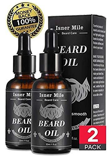 Beste Wahl 2 Pack Bartöl Bartpflege Rizinus öl Conditioner für Männer Bart Schnurrbärte Wachstum, Erweichen, Befeuchten und Stärken - Reine natürliche Bio-Zutaten (Leichte Magische Duft)