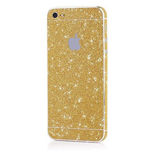 iPhone SE / 5 / 5s Glitzer-Folie für hinten und vorne - Glamour Skin Diamond Shine Klebefolie in Gold - Skin Sticker Iphone Gold 5