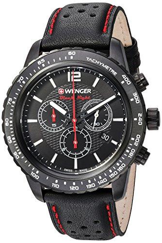Wenger Herren 'Roadster' Swiss Quarz Edelstahl und Leder Casual Uhr, Farbe: Schwarz (Modell: 01.0853.108)