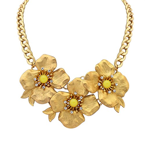 Aooaz Collane donna Boemia Collane statement Collane girocollo Vintage Lungo Collane fiore giallo Collane