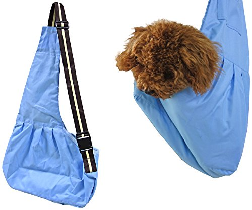 Pet Sling Carrier Bag, Shoulder Carry Tote with Adjustable Strap Hands-free Reversible Lightweight Portable Pouch for Puppy Dog Cat Small Animal with Extra Pocket and Safety Clip Hold Up to 6 KG (Blue)