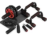 TOMSHOO 5-in-1 Fitness Workout Set - AB Wheel Roller Addominali +2 Maniglie per Flessioni + Corda per Saltare + Pinza Mano +