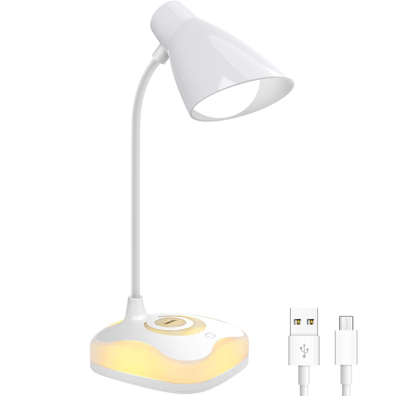 Lámpara Escritorio LED, OMERIL Luz Lectura Recargable USB con Control Táctil, Luz Cálida en la Base y 3 Brillo Regulable, Flexo Escritorio Infantil para Estudio, Lectura, Oficina, Dormitorio, Mesa