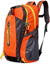 Erasky 40L Mochila de Senderismo Ligero, MúLtiples Funciones Impermeable Casual Mochila Camping Montaña Para Deporte Al Aire Libre Escalada Trekking Alpinista (Naranja)