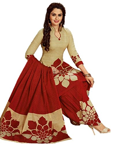 Hotai World Women's Brown Cotton Print Salwar Suits Duppata Dress Material | Cotton Dress Material | Unstitched cotton salwar suit for women