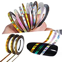 Born Pretty Holographic Nail Striping Tapes Laser Adhesive Line Decal DIY Nail Art Styling Tools 3 Colors 3 Width