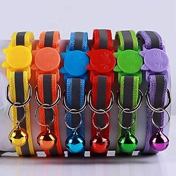Bostecks Paquet de 12 Colliers Réfléchissants pour Chat à Dégagement Rapide avec Cloche, Adapté et Ajustable pour Tous Les Chats Domestiques et Les Plus Gros Chatons