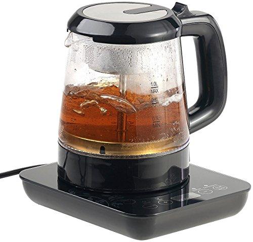 Rosenstein & Söhne Teemaschine: 2in1-Teebereiter & Wasserkocher mit Temperaturwahl, 1 Liter, 800 Watt (Wasserkocher Temperatureinstellung)
